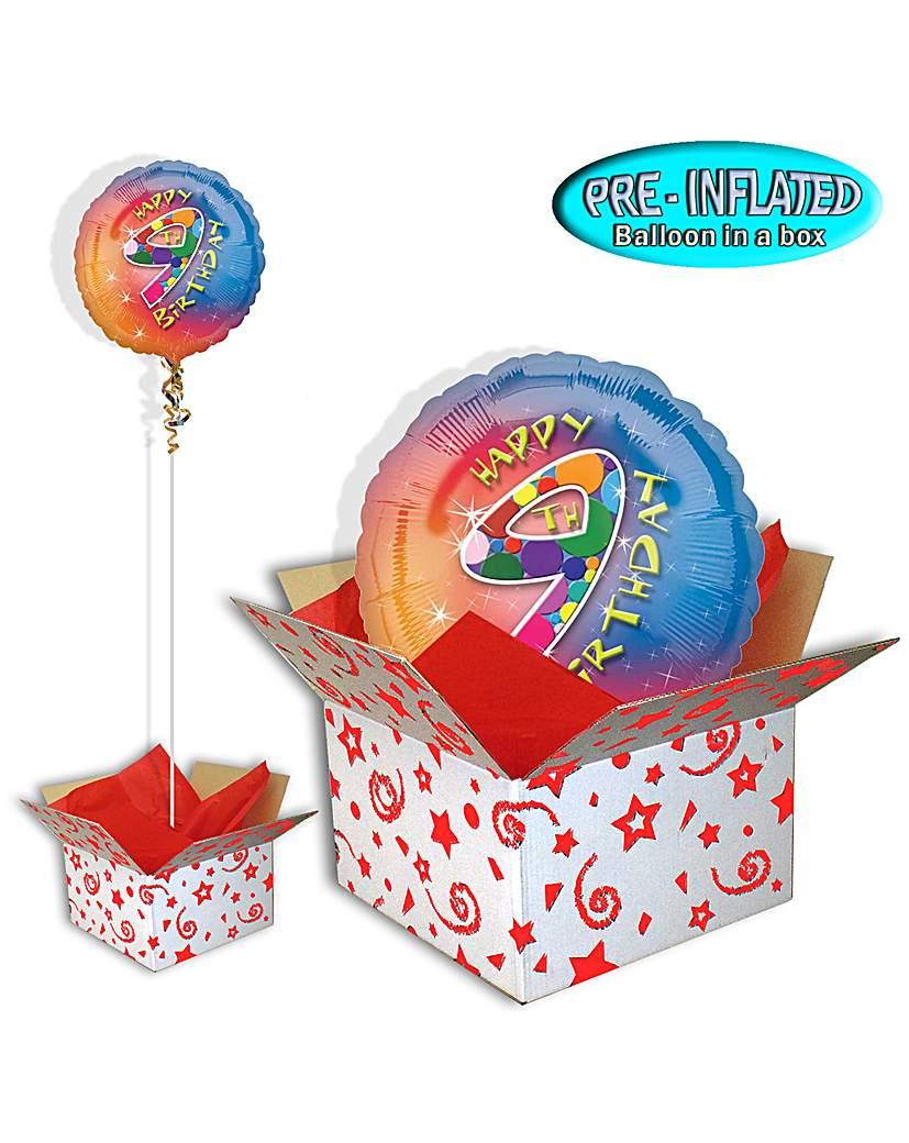 Happy 9th Birthday Foil Balloon In A Box