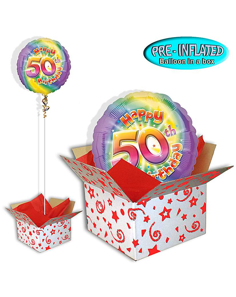 Image of Happy 50th Birthday Balloon In A Box