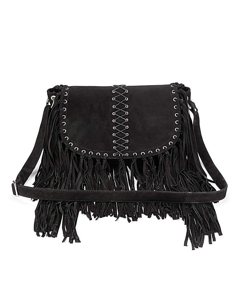 Image of Suede Across Body Fringed Bag