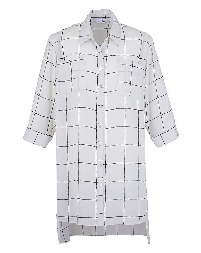 White Check Longline Blouse