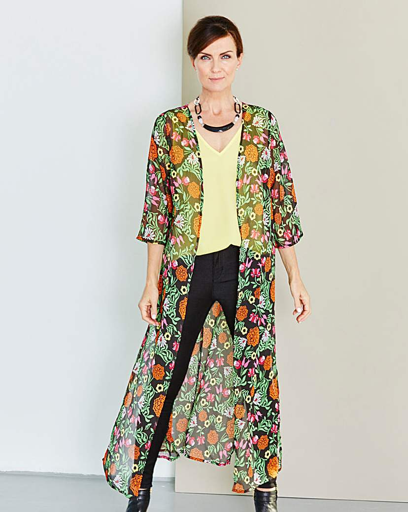 Black Print Longline Kimono