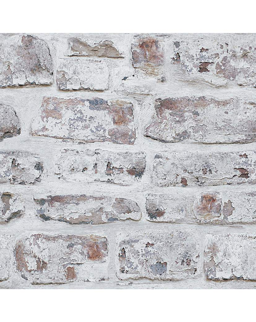 Image of Arthouse Whitewashed Wall Wallpaper