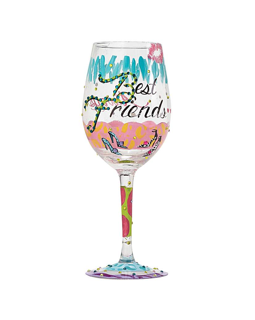 Lolita Best Friends Always Wine Glass.