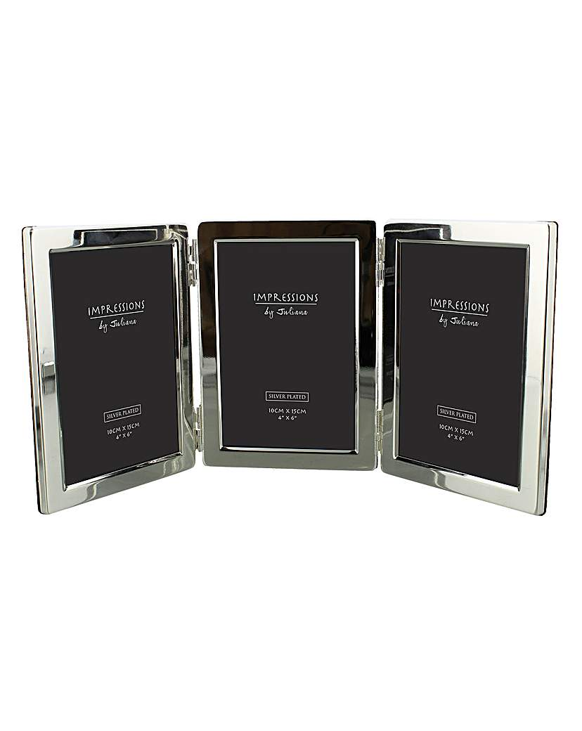 Silverplated Hinged Triple Photo Frame.