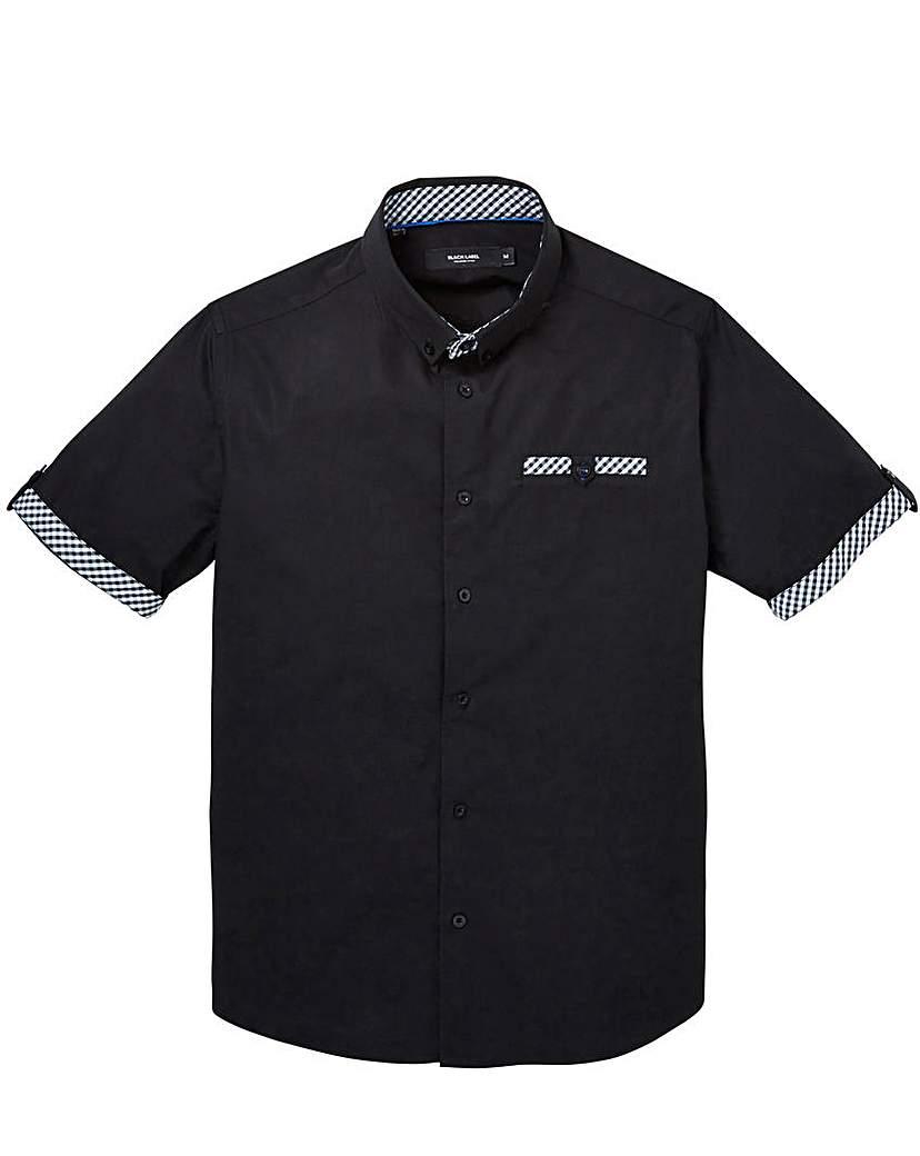 Black Label Gingham Trim Shirt Regular.