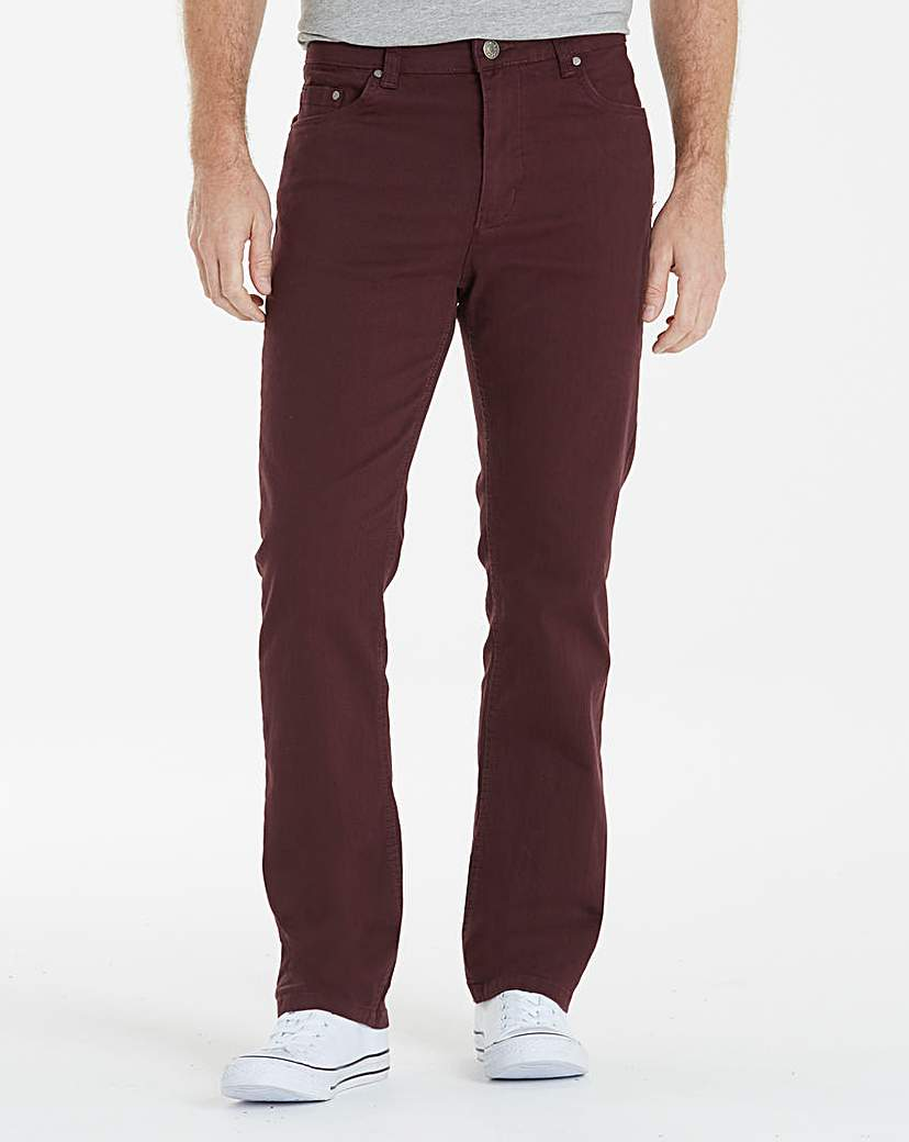 UNION BLUES Wine Gaberdine Jeans 33in at Jacamo