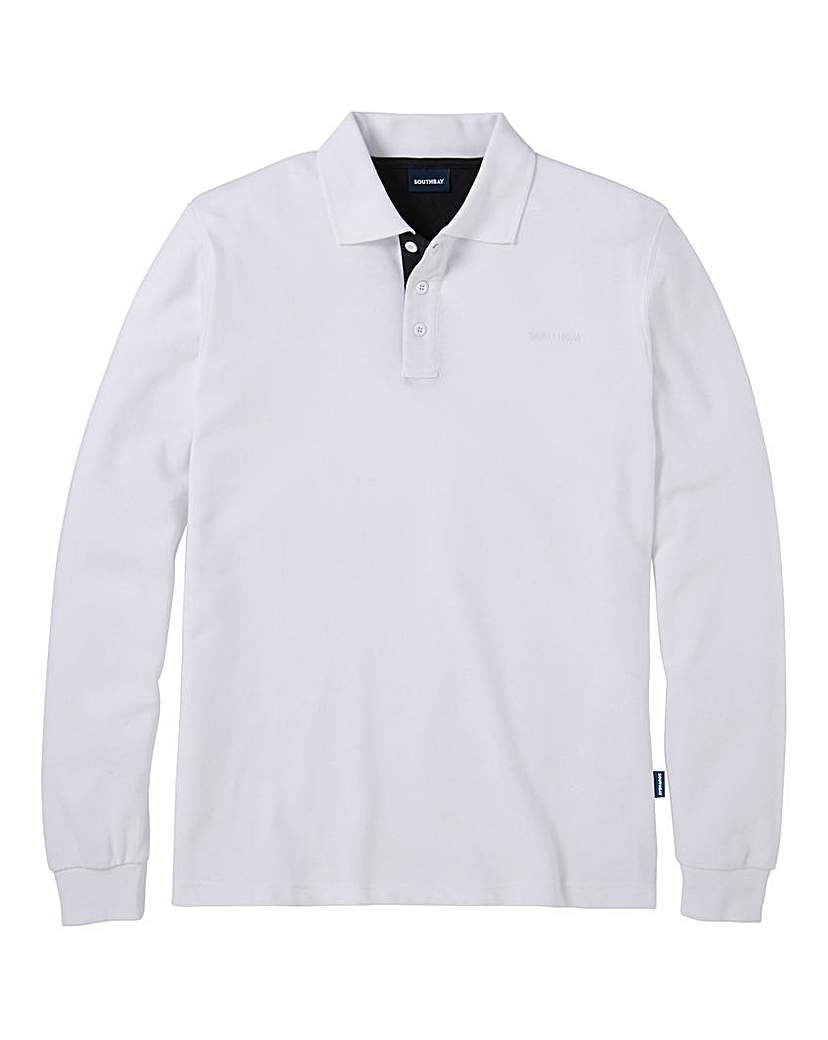 Southbay Unisex L/S White Pique Polo