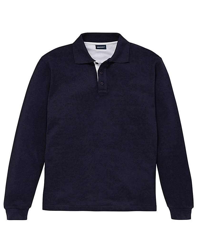 Southbay Unisex L/S Navy Pique Polo