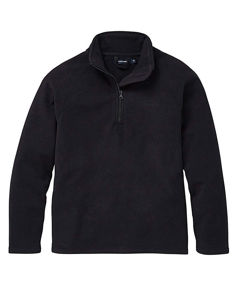 Image of Southbay Unisex Black Zip Neck Fleece