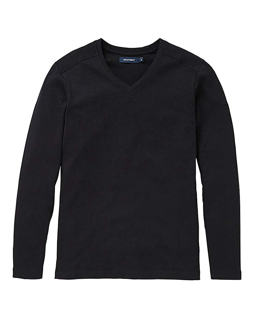 Southbay Unisex Black L/S V-Neck Tee