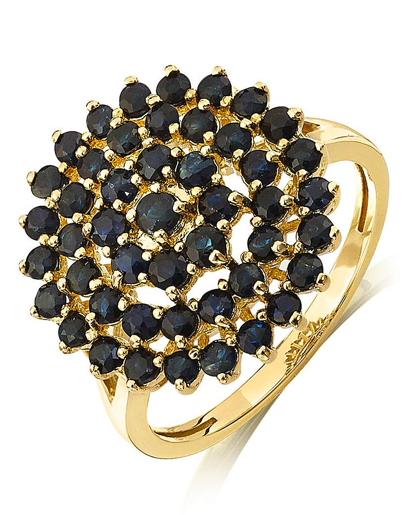Image of 9 Carat Gold Black Sapphire Cluster Ring