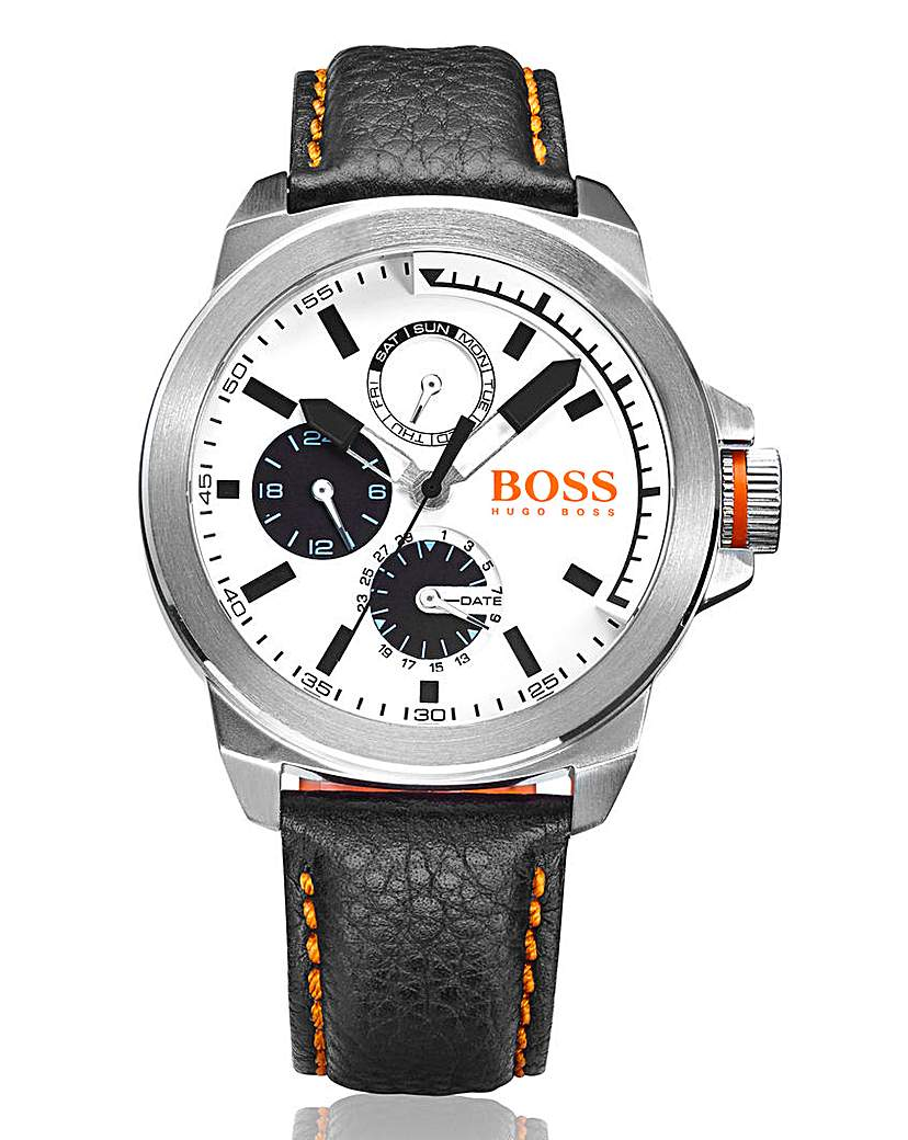 Boss Orange Gents Black Leather Watch