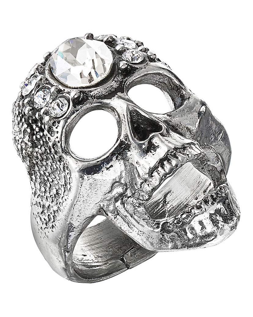 Alchemy Gothic Diamante Skull Ring
