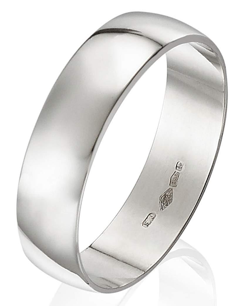 Platinum D Shape Gents Wedding Band-5mm