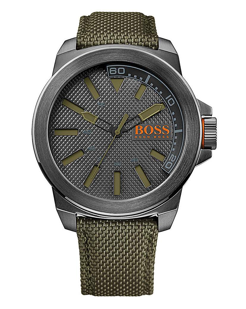 BOSS Orange Watch With Green Nylon Strap