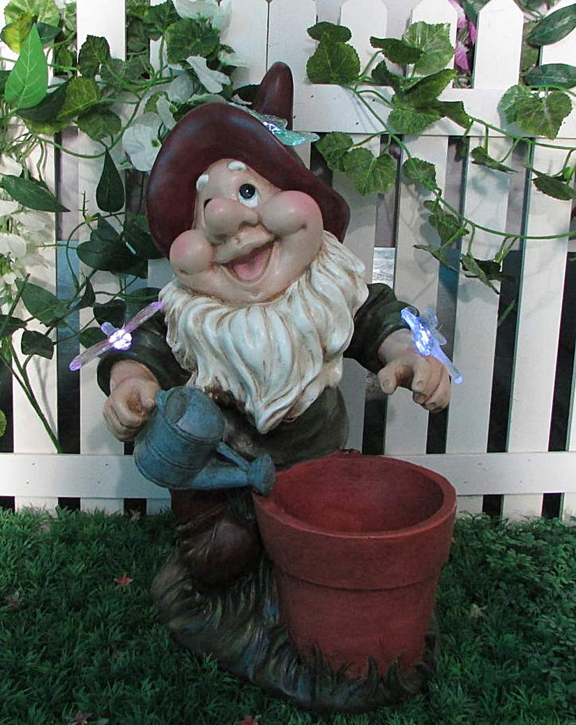 Image of Solar Gnome with planter