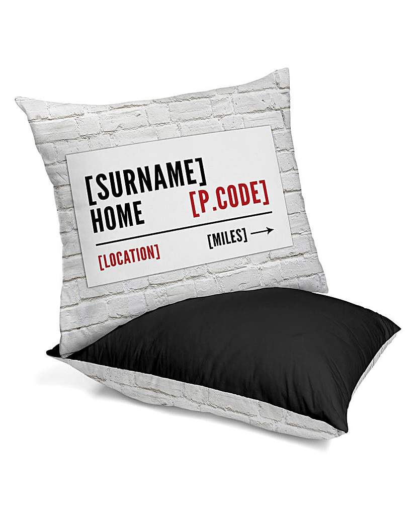 Image of Personalised Home Street Sign Cushion