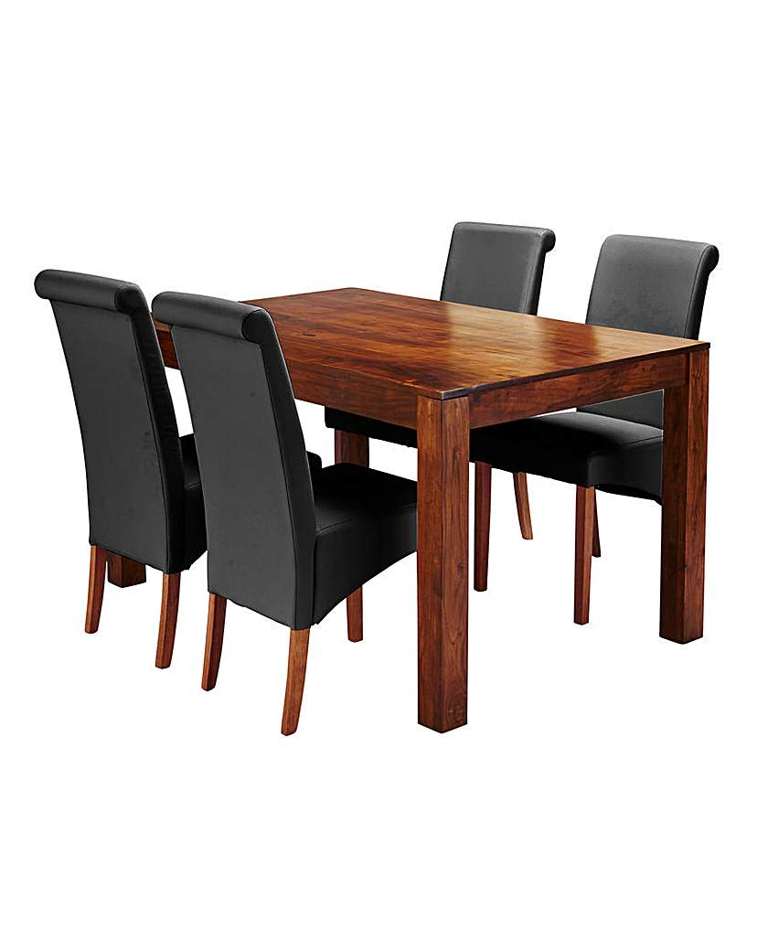 Image of Java Acacia Dining Table with 4 Chairs