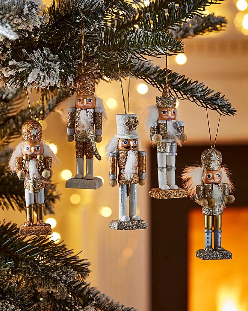 Image of Set of 5 Golden Nutcracker Figurines