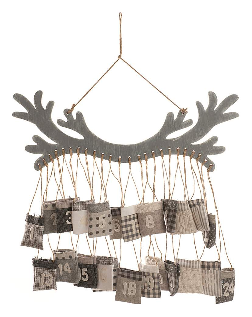 Wooden Antler Hanging Advent