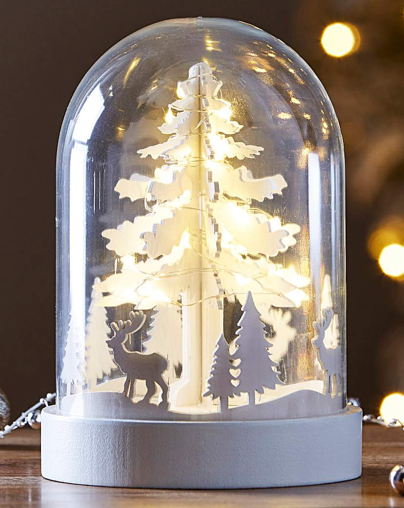 Image of Glass Dome Tree Scene With Copper Lights