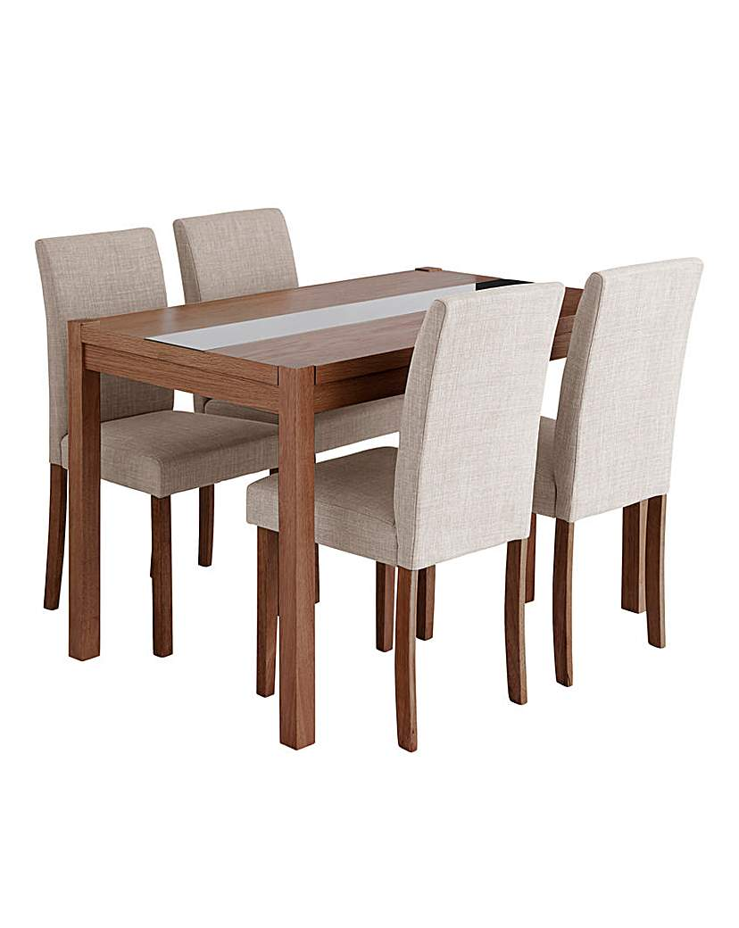 Image of Oakham Glass Panel Dining Table 4 Chairs