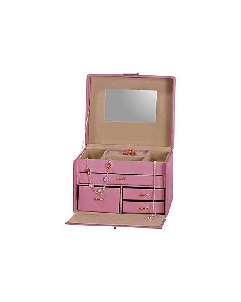 Small Four Drawer Pink Jewellery Box.