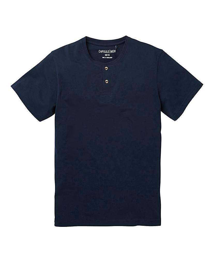 Capsule Navy Grandad T-Shirt Long