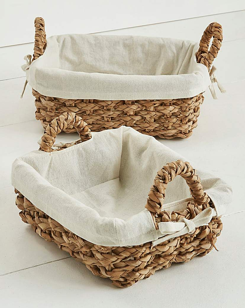 Chunky Rush Set of 2 Baskets with Lining