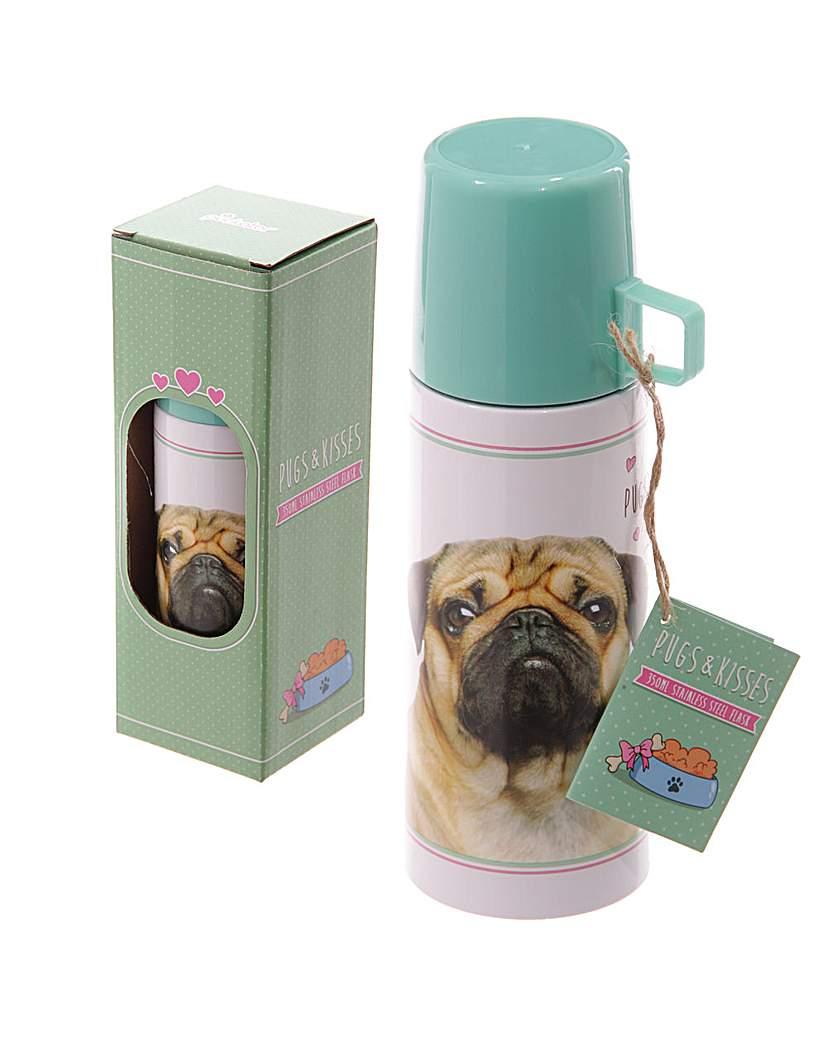 Image of 350ml Flask - Pug Design