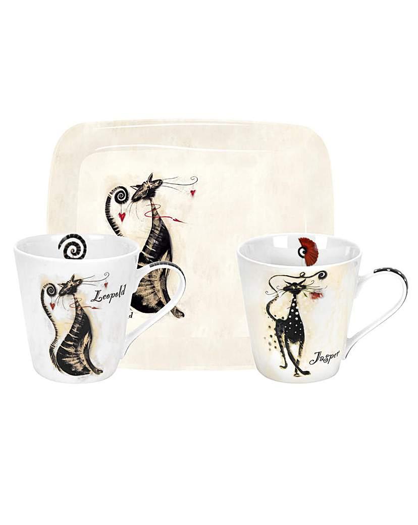 Image of Pimpernel Catitudes Mug & Tray Set