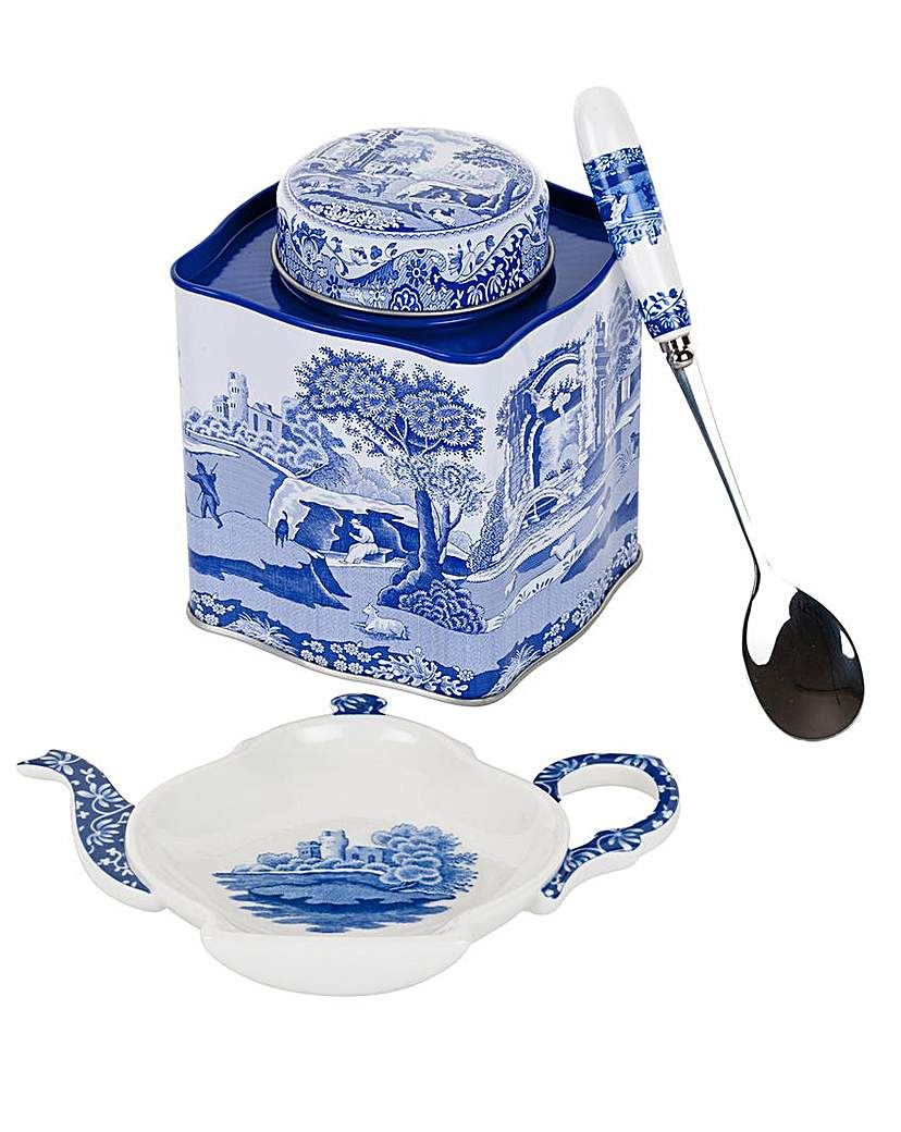 Image of Blue Italian Three Piece Tea Set