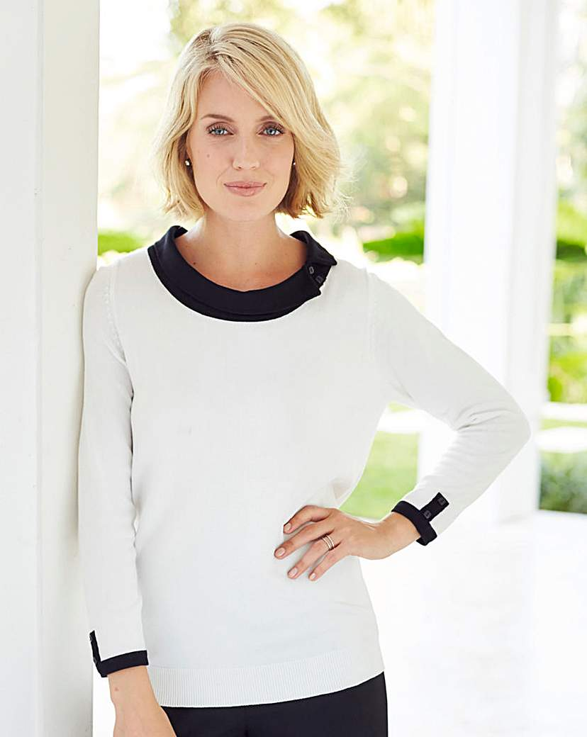 1960s Inspired Fashion: Recreate the Look Nightingales Contrast Collar Sweater £7.25 AT vintagedancer.com