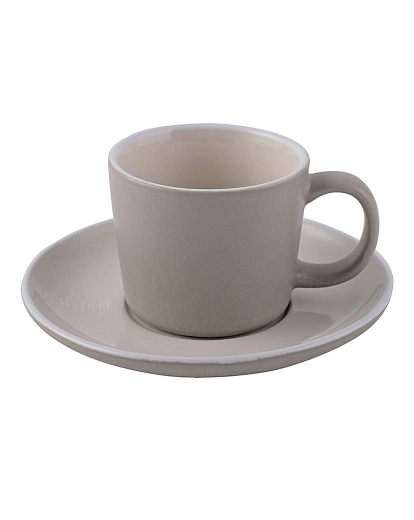 Image of La Cafetiere Stoneware Cup and Saucer