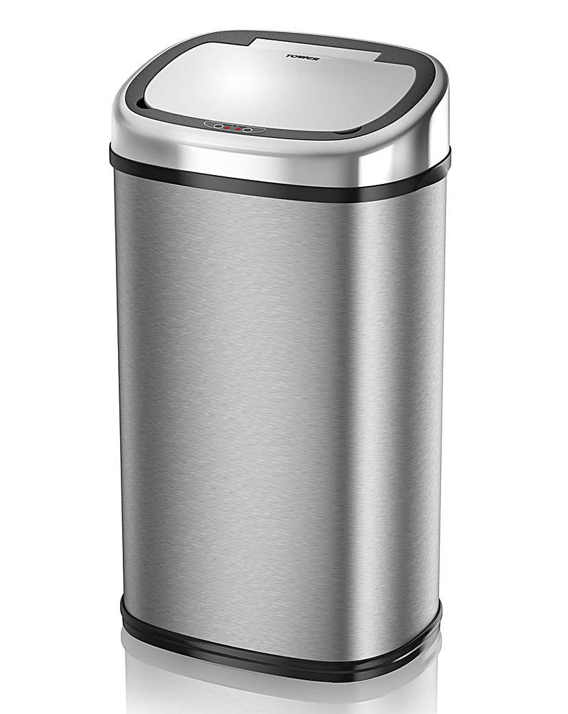 Tower 58L Stainless Steel Sensor Bin