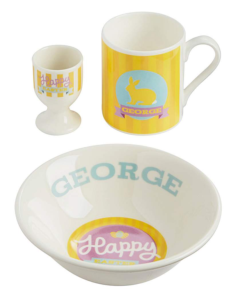 Image of Personalised Yellow Easter Breakfast Set