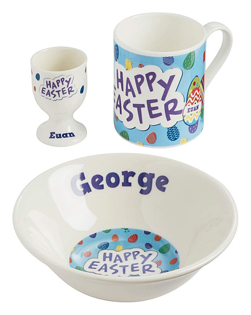 Image of Personalised Blue Easter Breakfast Set