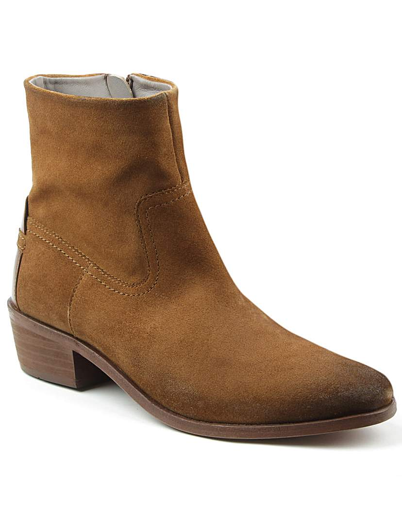 Hudson Tan Western Block Heel Calf Boot
