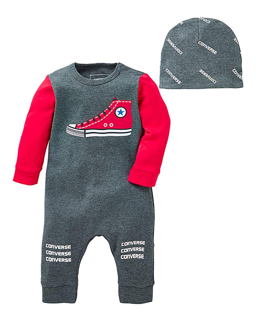 Converse Baby Boy Romper and Hat Set