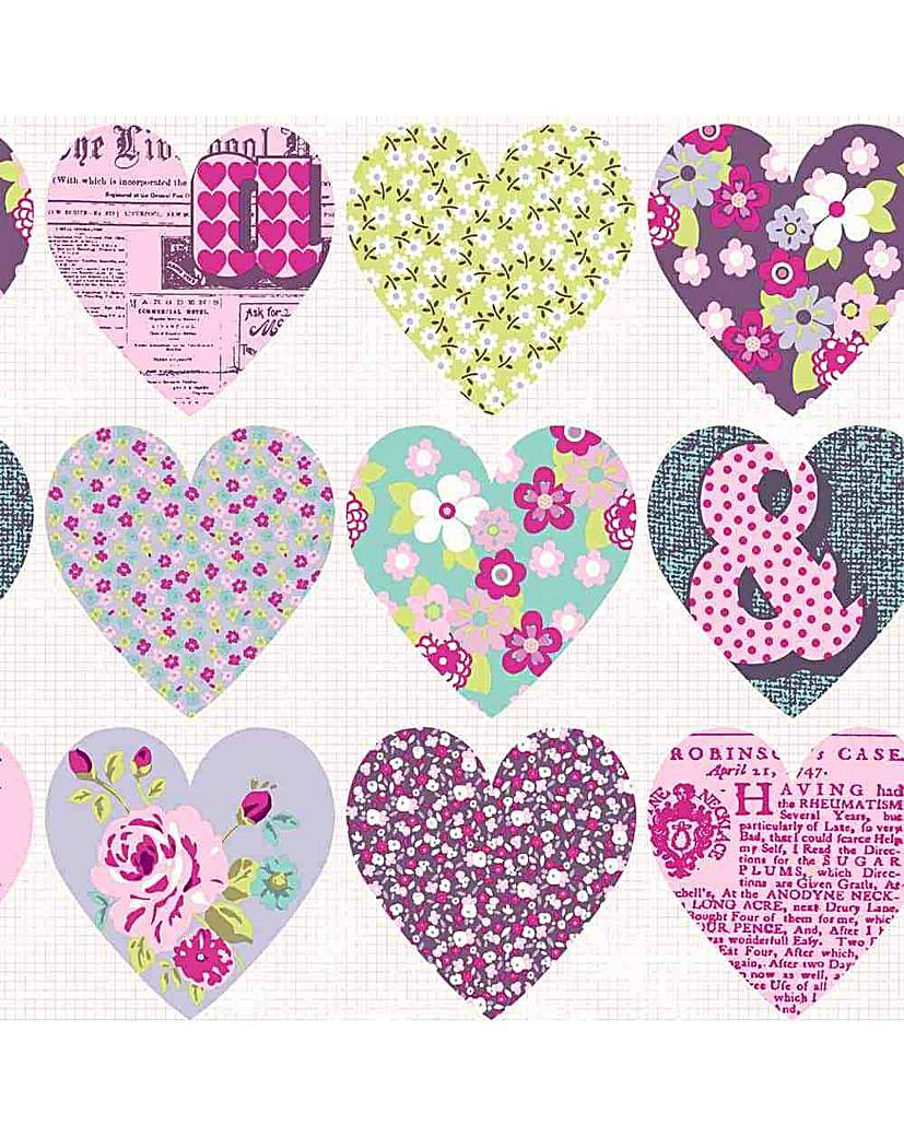 Image of Arthouse Purple Hearts Wallpaper