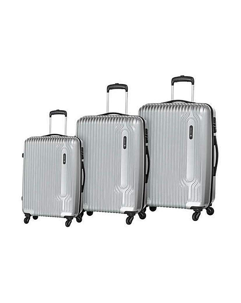 Image of Small 4 Wheel Hard Suitcase - Silver