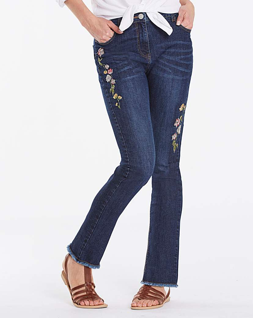 Embroidered Straight Leg Jeans Regular