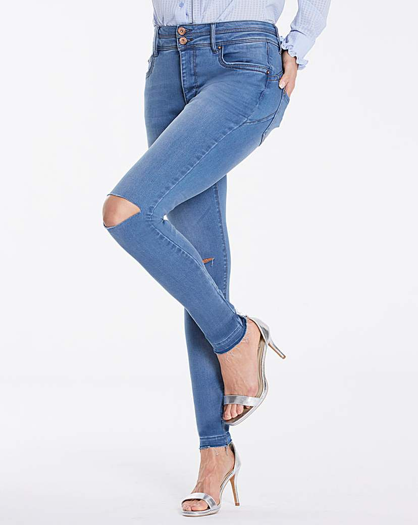 Shape & Sculpt Distressed Skinny Jeans.