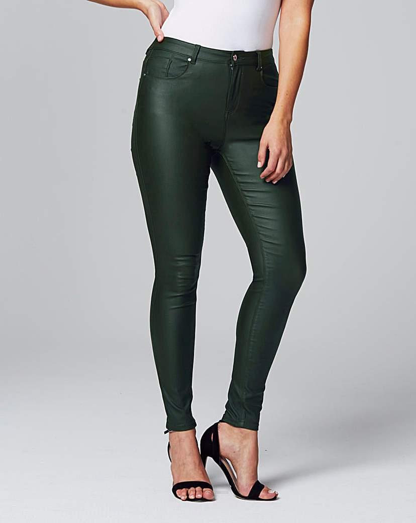 Chloe Dark Green Coated Skinny Jeans Reg