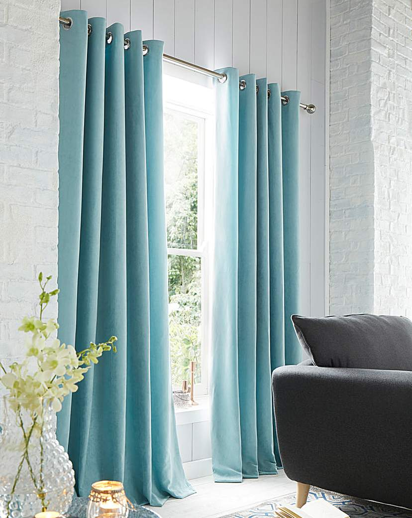 Faux Suede Eyelet Lined Curtains.