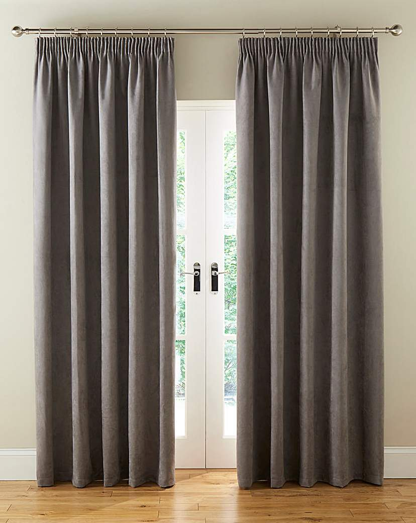 Faux Suede Pencil Pleat Lined Curtains
