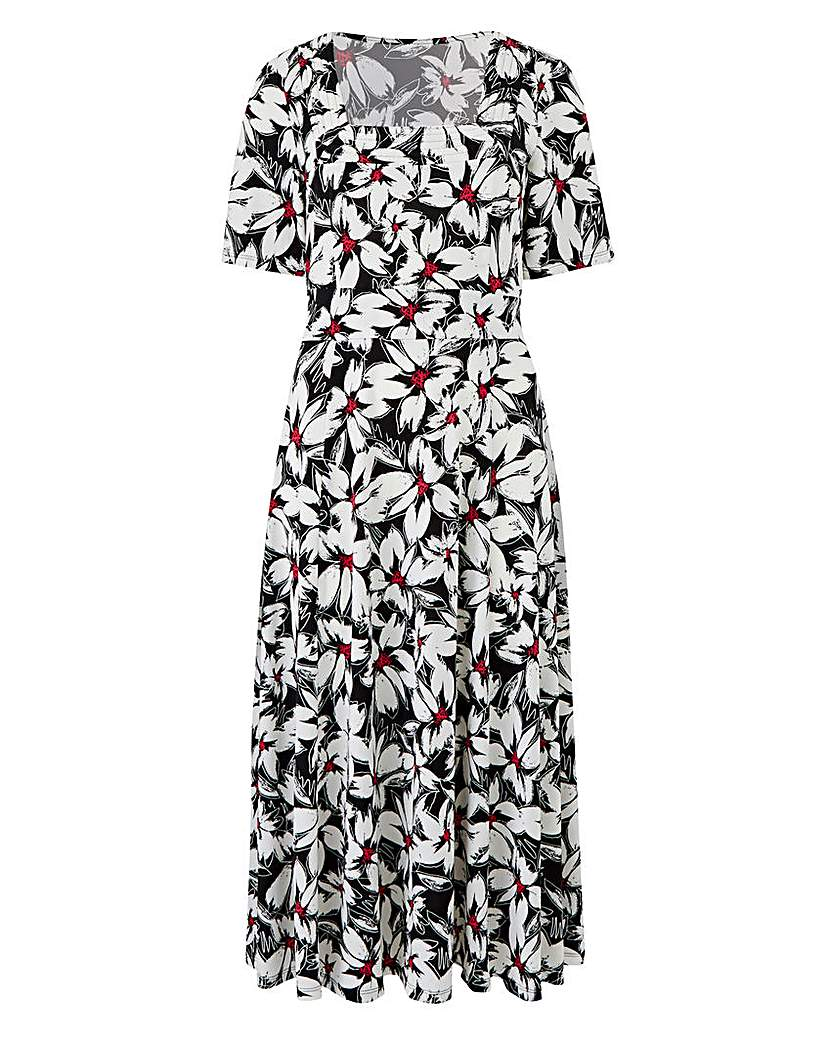 Print Square Neck Jersey Dress L43