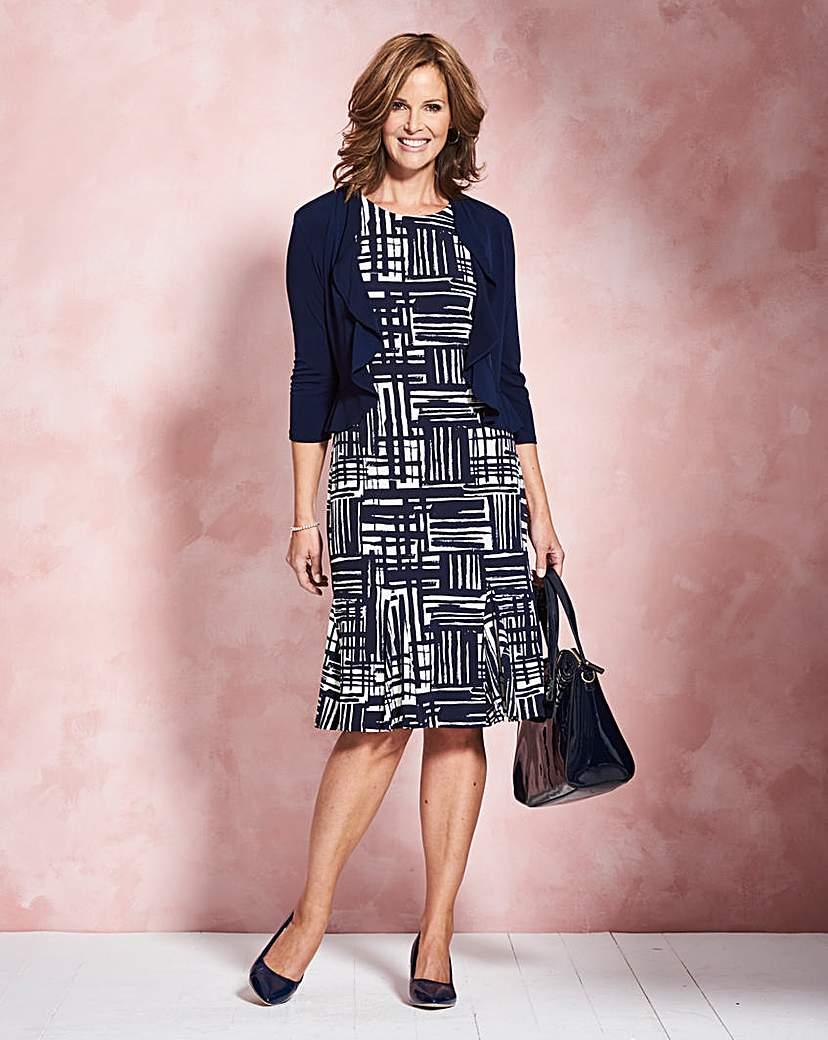 Navy/Ivory Print Dress & Shrug L39