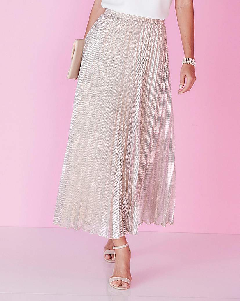 1920s Style Skirts Joanna Hope Metallic Pleated Maxi Skirt £59.00 AT vintagedancer.com
