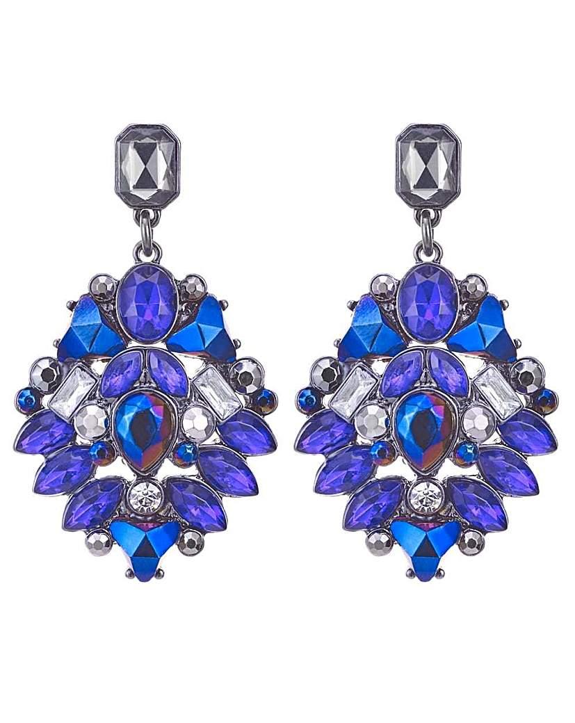Mood purple crystal prism drop earring
